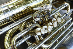 Detail of wind instrument Stock Images
