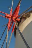 Detail of Windmill Mechanism in Mykonos Greece Stock Images