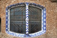 Detail of a Window  of Gaudi& x27;s house at Parc Guell Stock Image