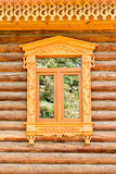 Detail of a window of a traditional wood log house, Vladimir, Golden ring,  Russia Stock Photography