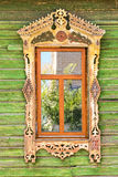 Detail of a window of a traditional wooden house in Rostov,  Russia Stock Photos