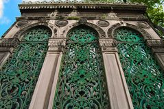 Building. Window with wrought iron grating - Istanbul, landmark attraction in Turkey