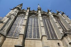 Detail of windows of Holy Chapel also called Sainte-Chapelle in royalty free stock photos