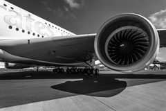 Detail of the wing and a turbofan Engine Alliance GP7000 of aircraft Airbus A380 Royalty Free Stock Images