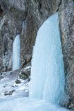Icefall on a rock wall. Detail of a winter landscape, icefall on a rock wall stock photography