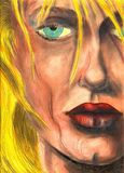 Detail of woman face. Illustration naked woman - I am author of this image Stock Images
