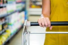 Detail of woman pushing cart Stock Images