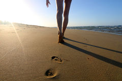 Detail of women´s legs walking on the sandy beach Stock Photography