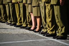 Soldiers in uniforms standing in formation during military ceremony. Detail with women in uniforms standing in formation during military ceremony Royalty Free Stock Image
