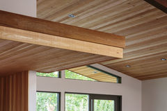 Detail of wood beam ceiling in a modern house entryway Royalty Free Stock Photography