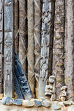 Detail of wood carving of animals on pillars at traditional Fon`s palace in Bafut, Cameroon, Africa Royalty Free Stock Photo