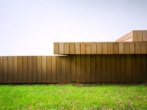 Detail of wood-panelled outside deck Stock Photography