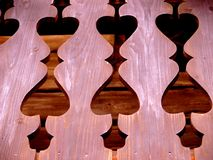 Detail of wooden balcony railing Royalty Free Stock Photography