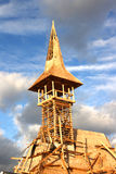 Detail of wooden church being built Royalty Free Stock Photo