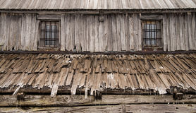 Detail of wooden cottage on meadow in Julian Alps Stock Images