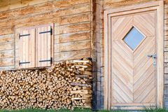 Detail of wooden cottage Royalty Free Stock Image