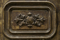 Detail wooden door ornament stock image