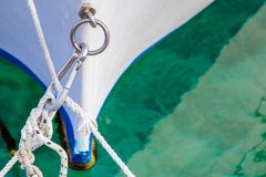 Detail of a wooden fishing boat royalty free stock photos