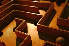 Detail of wooden labyrinth Royalty Free Stock Image