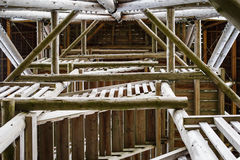 Detail of wooden observation tower connections. Stock Photography
