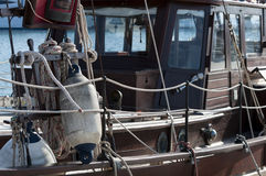 Detail of a wooden sailing boat Royalty Free Stock Photo