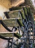 Wooden shovels of an old watermill. Detail of the wooden shovels of an old watermill stock photography