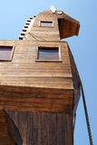 Detail of wooden trojan horse. In ancient troya Stock Photos