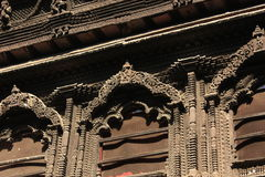Detail of wooden window,kumari bahal ,nepal. The carving wood window which kumari will show her face stock photo
