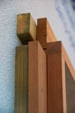 Detail of wooden window frame on construction site Royalty Free Stock Photography