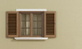 Detail of a wooden window. With shutters open on beige wall - rendering stock illustration
