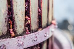 Detail of wooden wine press for pressing grapes Stock Image