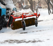 Detail of the working snowplow Stock Images