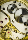 Detail of workings of a man's fob watch Royalty Free Stock Photo