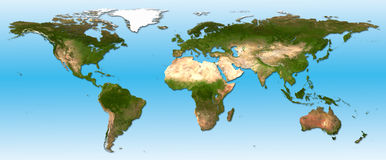 Detail world map. Real detail world map of continents Royalty Free Stock Images