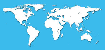 Detail world map. Real detail world map of continents Stock Image