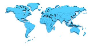Detail world map with national borders, 3d render. Blue world map with national borders, 3d render stock illustration