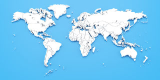 Detail world map with national borders, 3d render Stock Photo