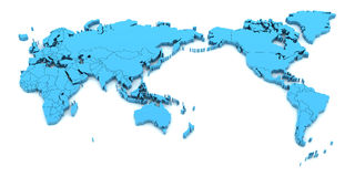 Detail world map with national borders, 3d render Stock Image
