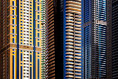 Detail of world tallest residential buildings. Dubai marina, United Arab Emirates. Royalty Free Stock Photography