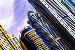 Detail of world tallest residential buildings. Dubai marina, United Arab Emirates. Majestic colorful dubai marina skyscrapers. Detail of world tallest royalty free stock image