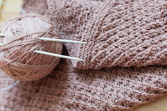 Detail of woven handicraft knit brown sweater Royalty Free Stock Image