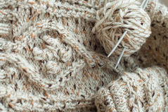 Detail of woven handicraft knit sweater Royalty Free Stock Photo