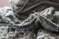 Detail of woven handicraft knit sweater Royalty Free Stock Images