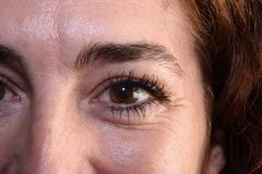 A Detail of wrinkles in a woman`s eyes. Detail of wrinkles in a woman`s eyes Royalty Free Stock Photo