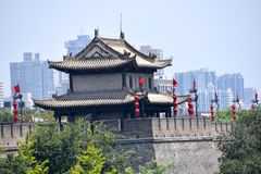 View of the Xian City Wall, China stock image