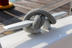 Detail yacht rope and cleat Stock Images