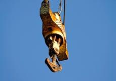 detail of yellow crane hook Royalty Free Stock Image