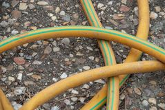 Detail of yellow hose royalty free stock photo