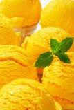 Yellow ice cream cones. Detail of yellow ice cream cones royalty free stock photos