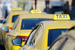 Detail of yellow taxi cars on the street Stock Photo
